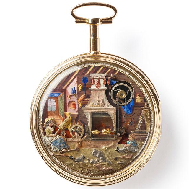 Gold-Emailuhr mit Automat «Küche», Genf, um 1820