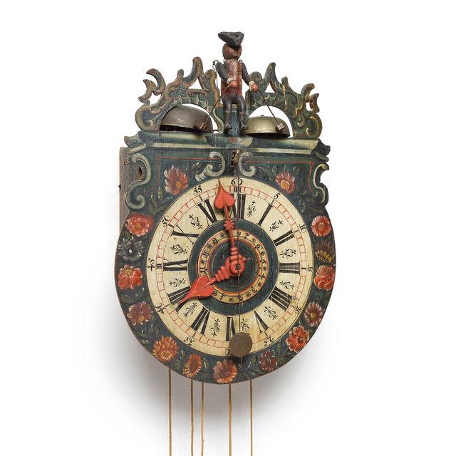Appenzeller Holzräderuhr mit Figurenautomat, Appenzell oder Ostschweiz, 1772