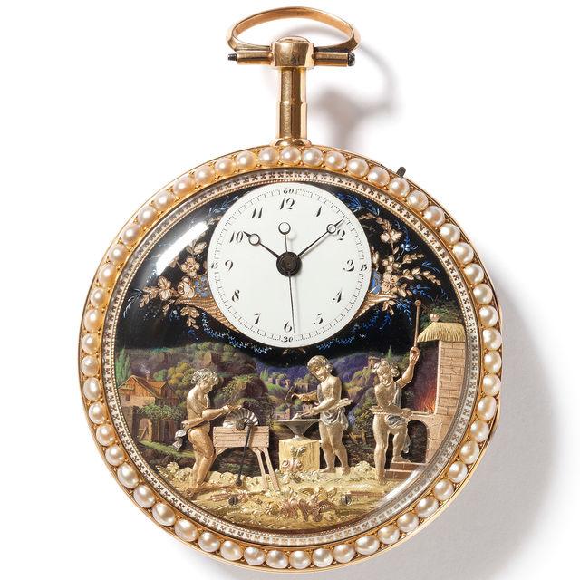 Gold-Emailuhr mit Automat «Engelschmiede», Genf, um 1795