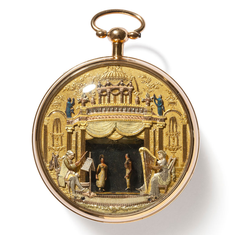 "Gold enamel watch with ""theatre"" automaton and musical works"